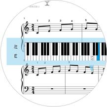 楽譜の音符をクリックすれば、鍵盤の位置がわかる