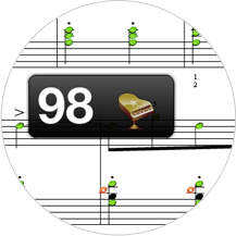 演奏終了後の採点でリズムと音程の間違いを指摘